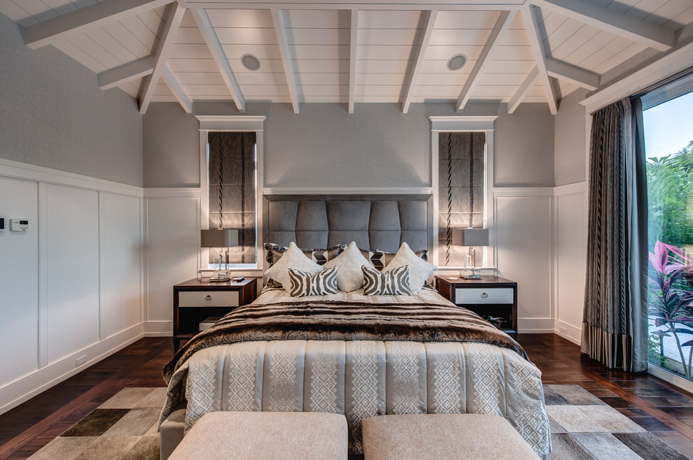 Elegant gray Transitional bedroom design