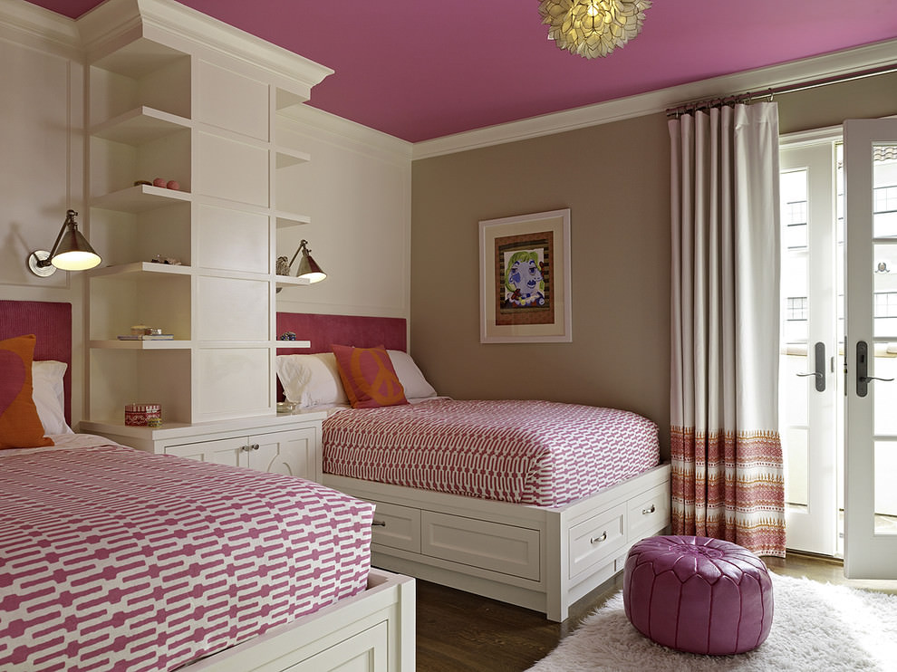 Nice pink transitional bedroom design