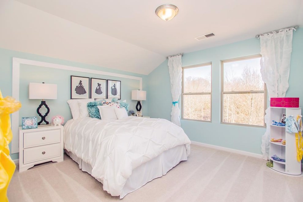Pale blue transitional bedroom design