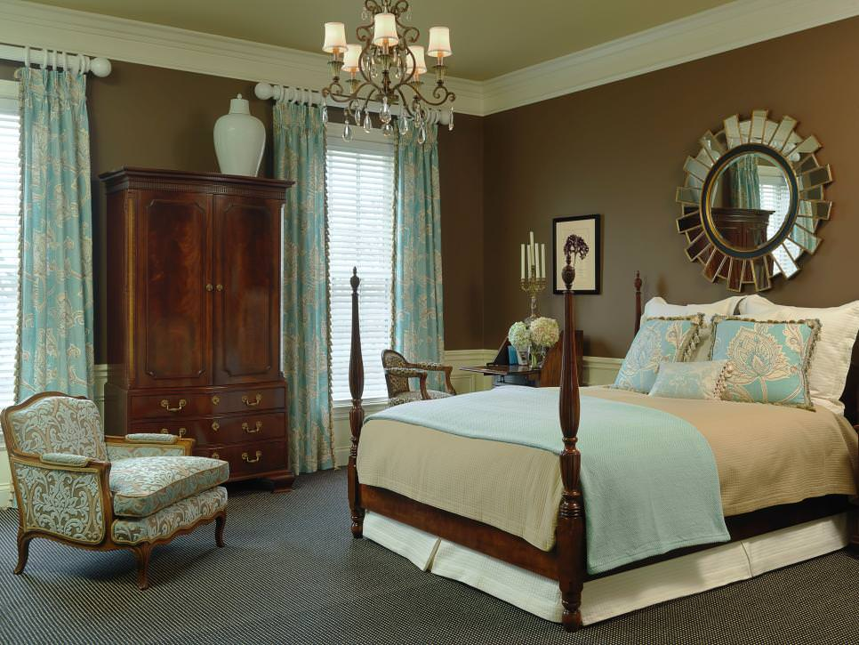 Transitional Bedroom With Brown And Blue Color Scheme