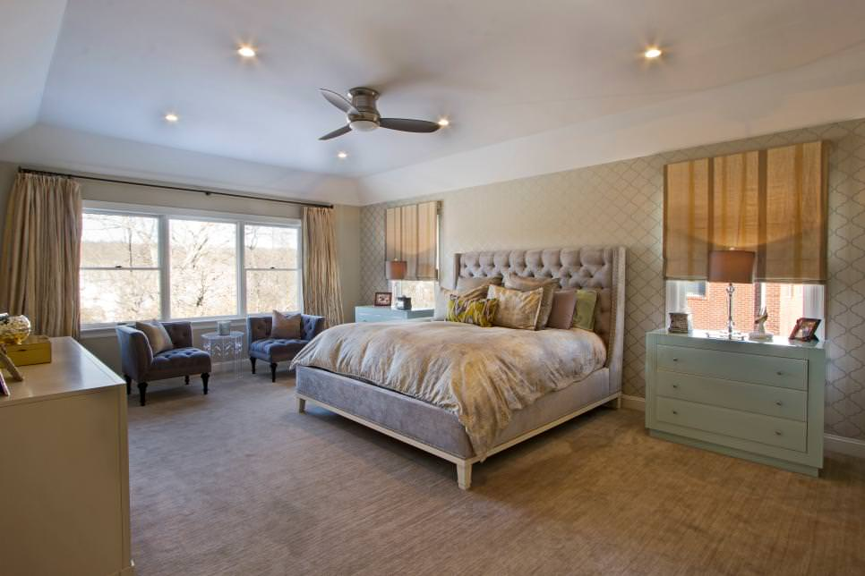 Transitional Bedroom With Tufted Furniture