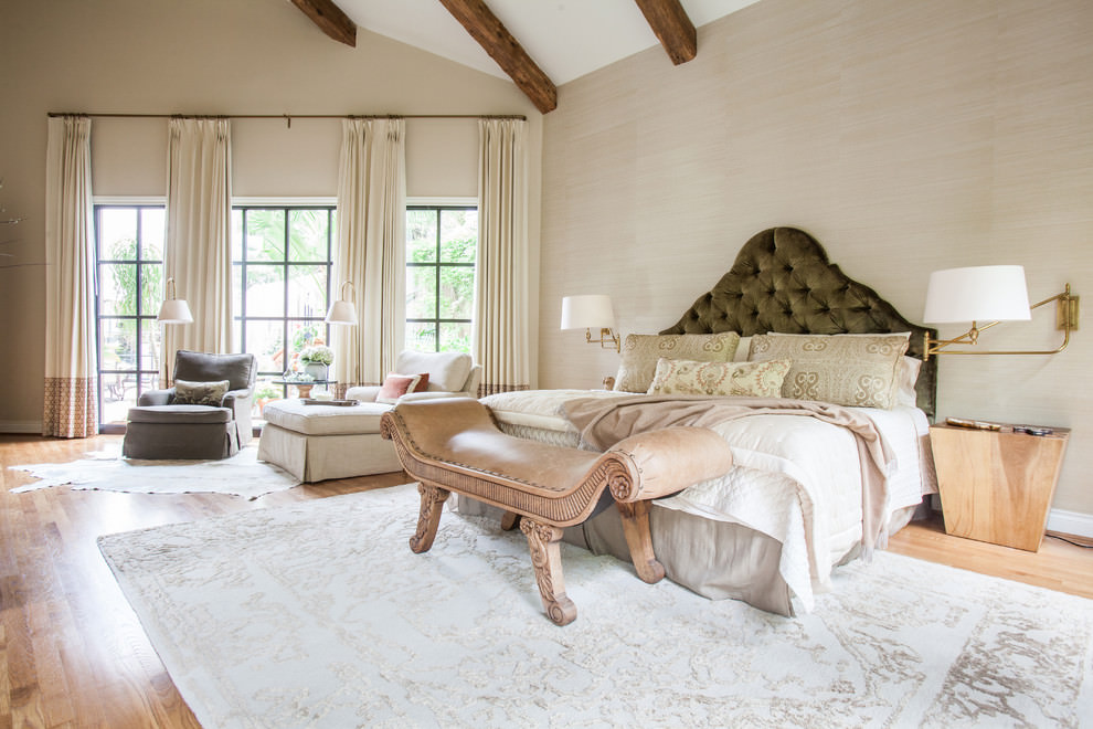 Vibrant large Transitional bedroom design