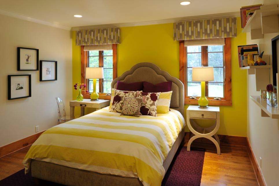 Yellow Transitional Guest Bedroom design