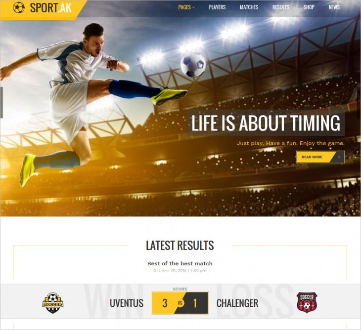 Football Club WordPress Theme