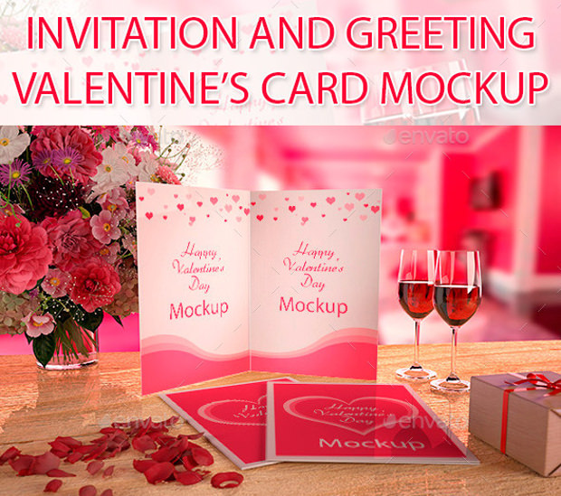 Greeting Card Mock up for Valentines