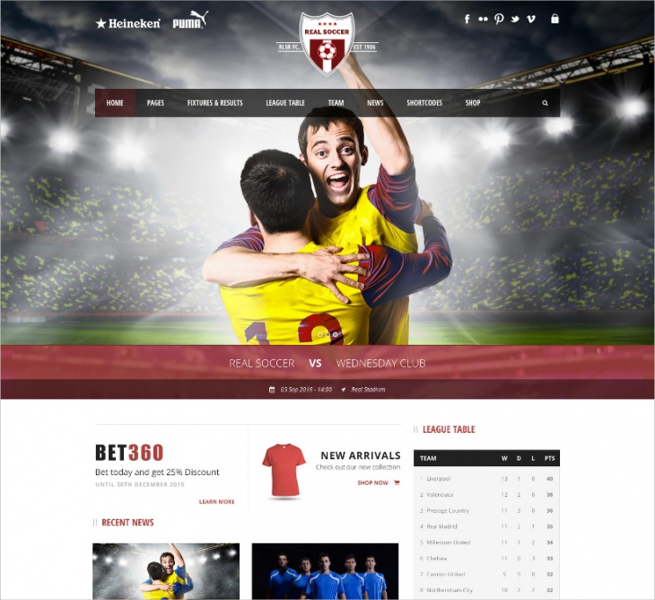 Soccer Club WordPress Theme