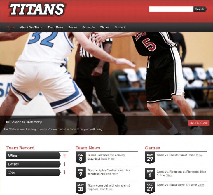 WordPress Sport Team Theme