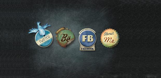 SocialMedia Vintage buttons