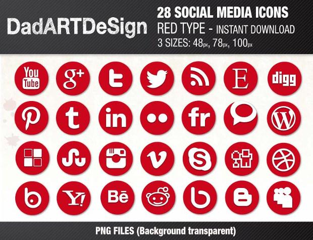 25+ SOCIAL MEDIA Icons Set
