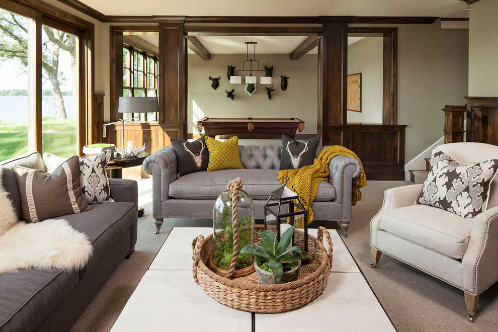 Traditional family room with traditional sofa