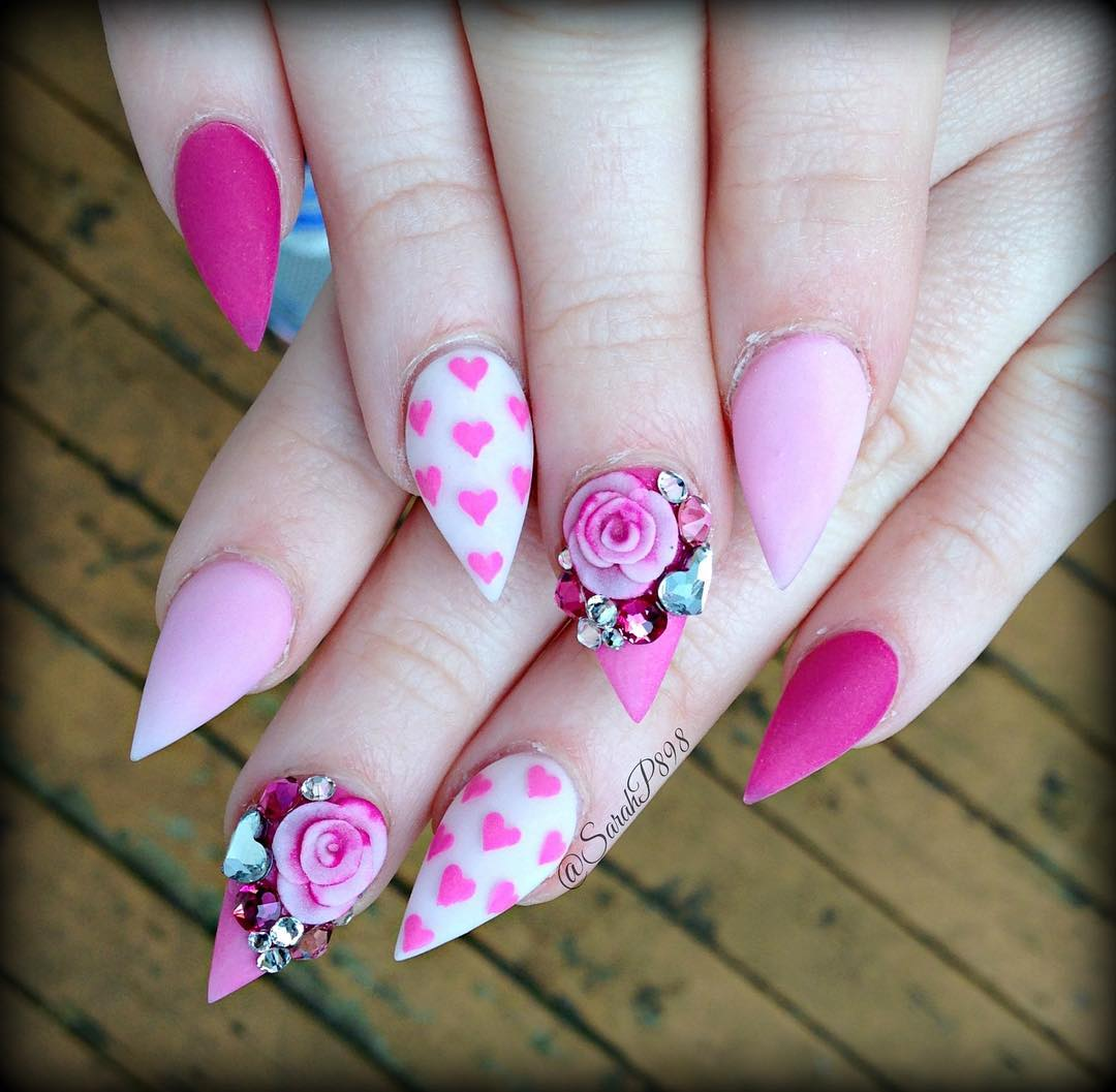 Lovely Pink Color Nail Design