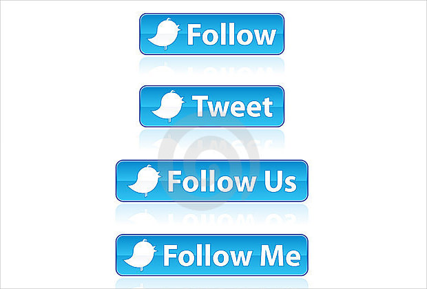 Set of various Twitter buttons