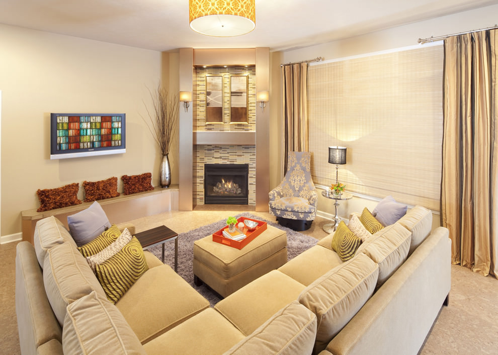 Biscuit color Royal sofa design in family room