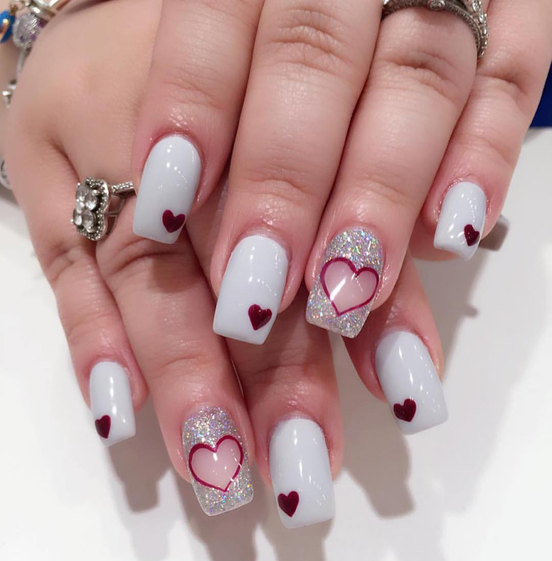 Pretty Valentine Nail Design