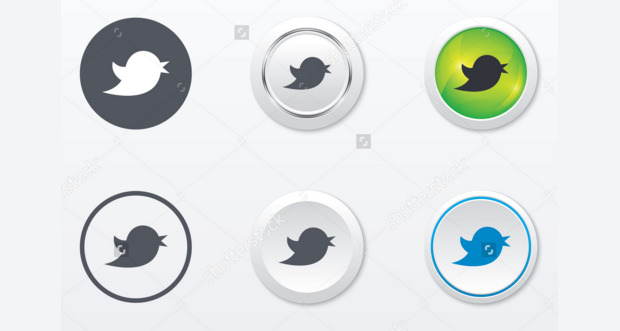 Different styles of popular twitter bird buttons
