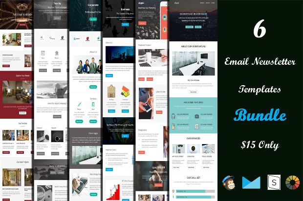 set of email psd templates