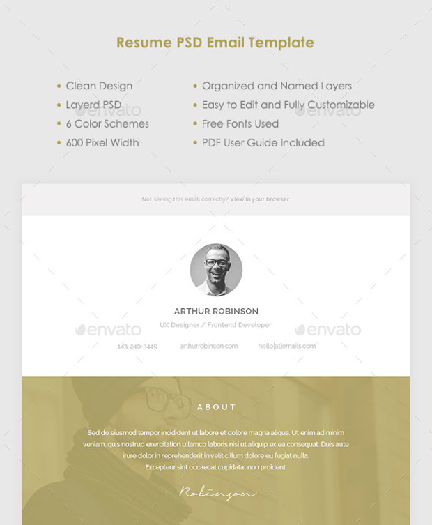 Resume psd email templates