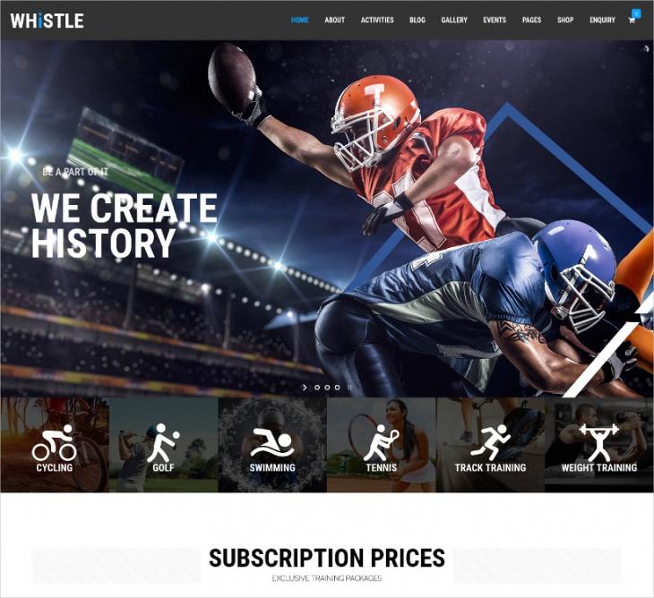 Parallax Sports WordPress Theme