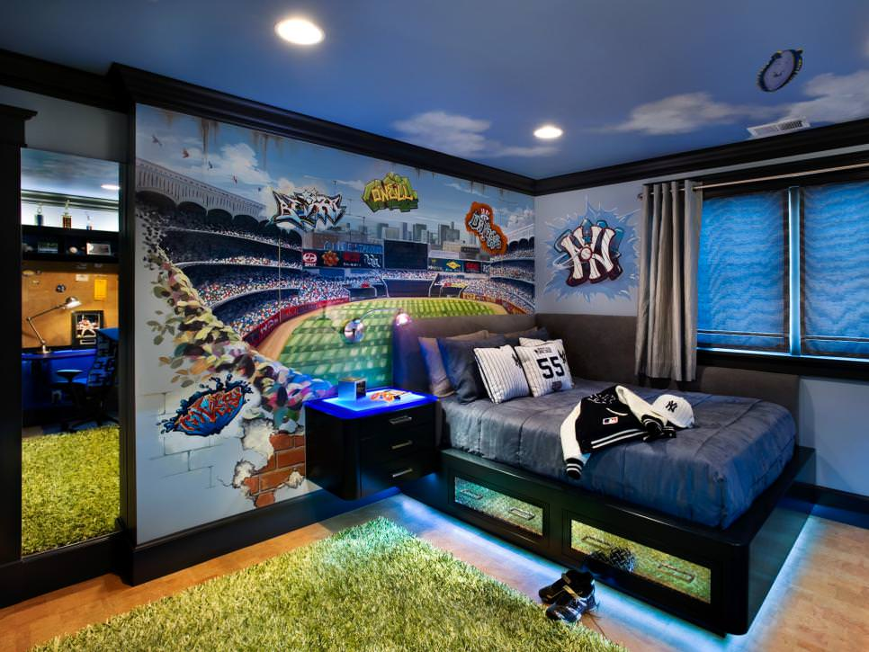 boys baseball themed bedroom wall paint design