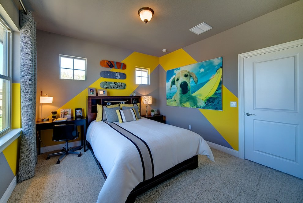 contemporary kids room with yellow wall strips design