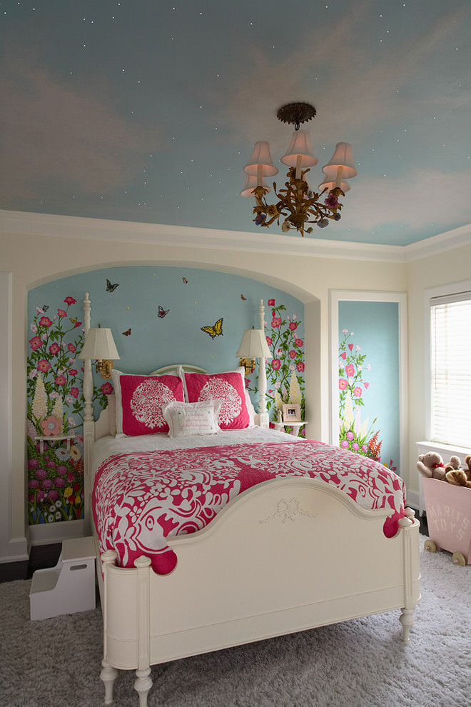 Flower wall paint design in kids room