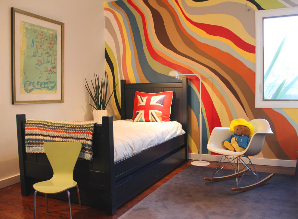 Modern kids besroom with funky wall paint design