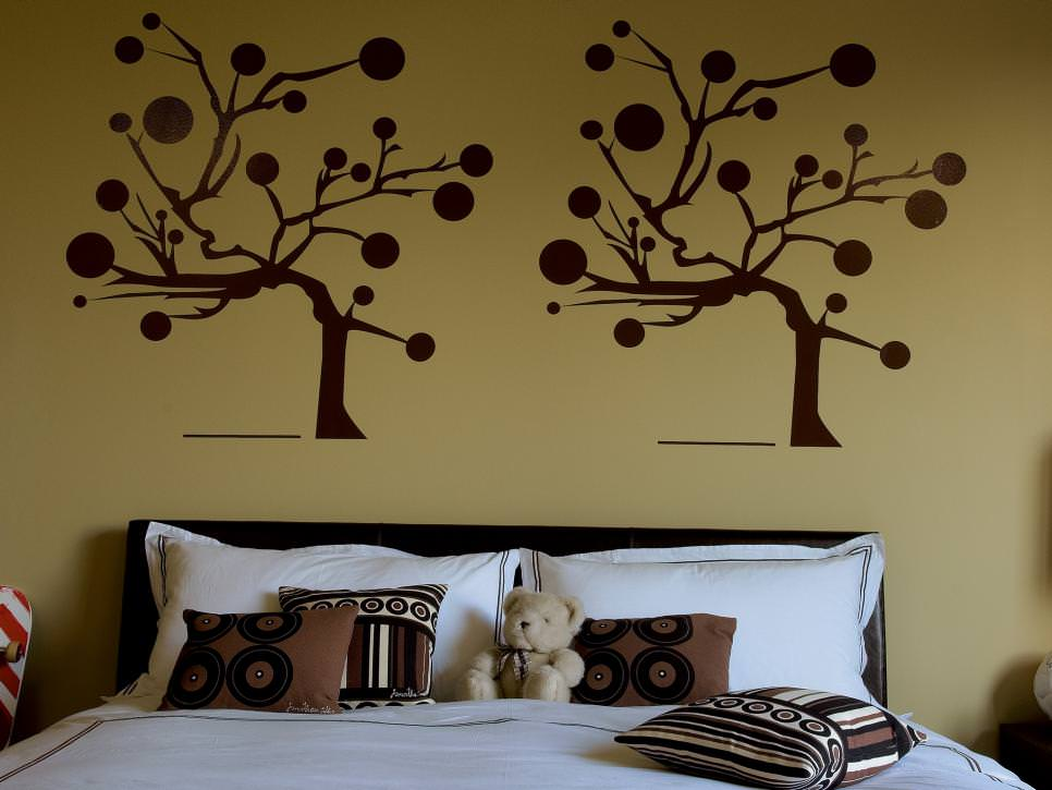 tree wall paint design in kids bedroom - Bedroom Paint Designs Photos