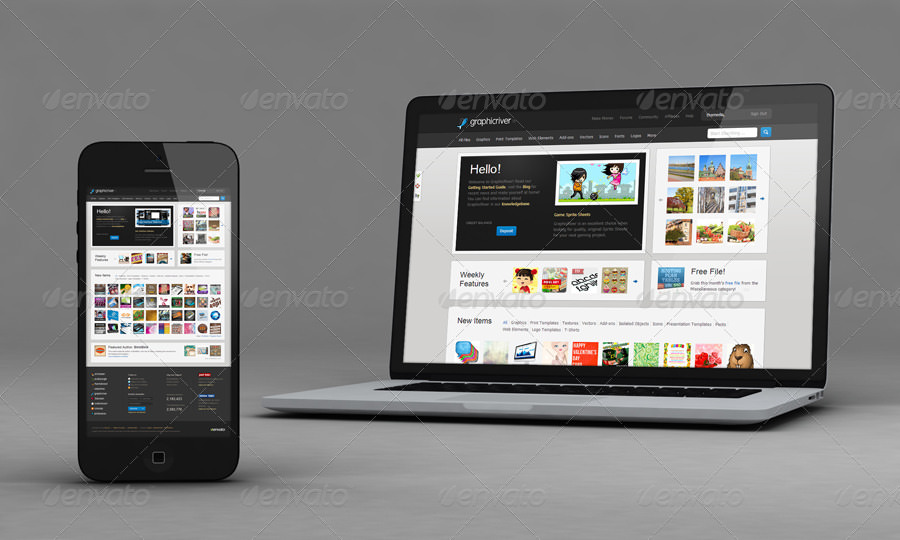 Iphone and Laptop Mockup