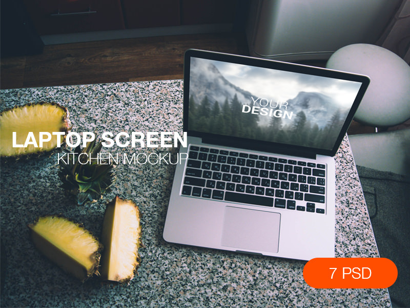 Laptop Screen Kitchen Mockup