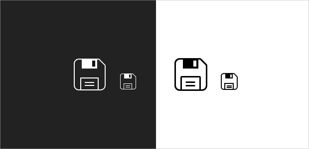 Black and white save icons
