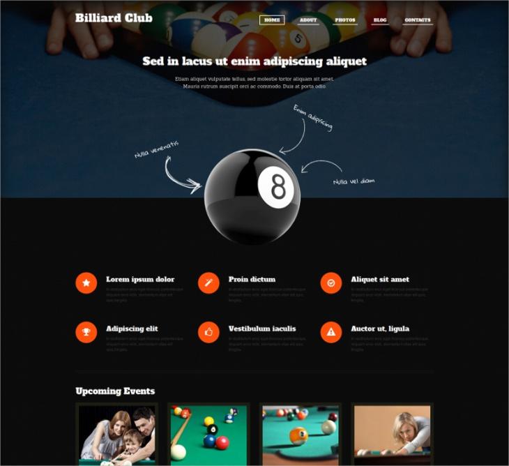 WordPress Billiards Club Theme