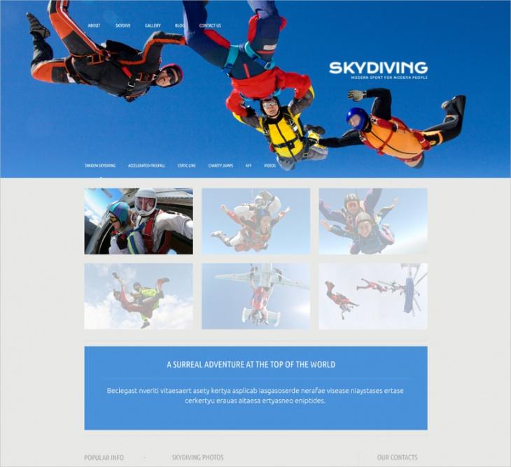 Skydiving WordPress Template