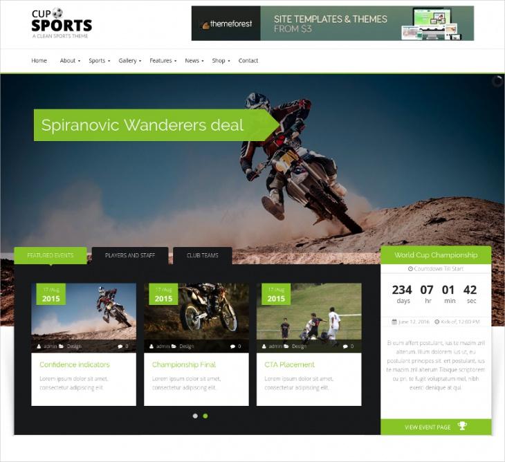 Bootstrap Sports WordPress Theme