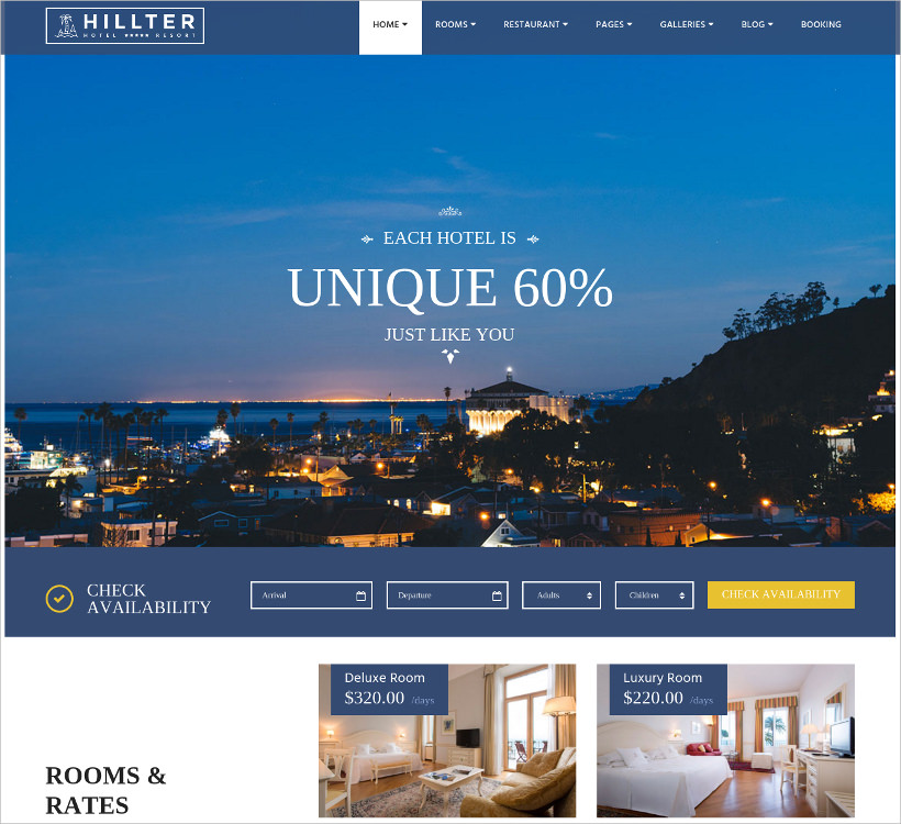 hillter responsive hotel booking wp theme