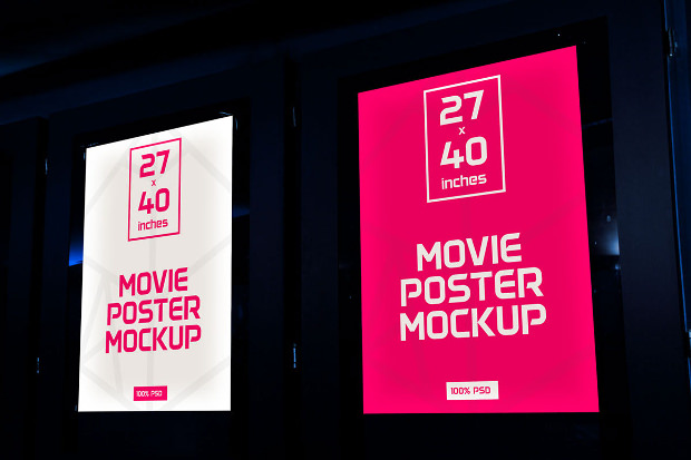 Realistic Movie Poster Mockup