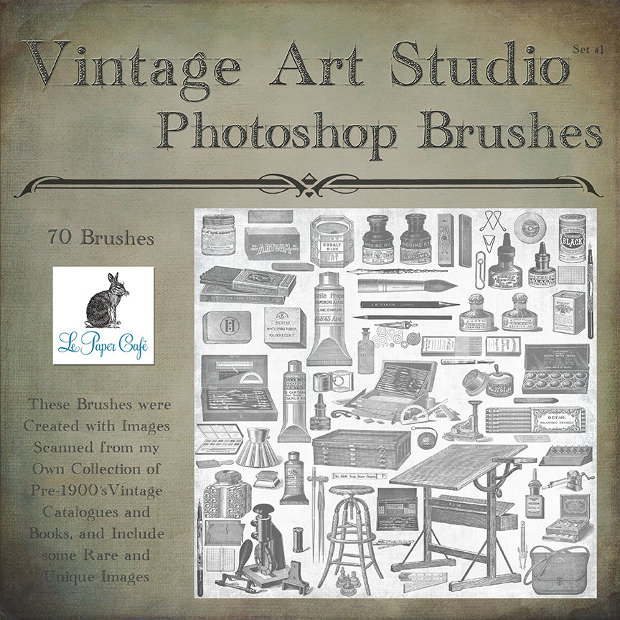 Vintage Art Studio Psd Brushes