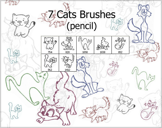 7 pencil cat brushes Download