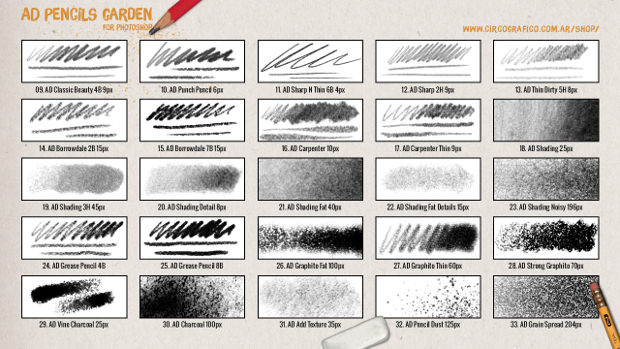 Pencil Garden Brushes collection