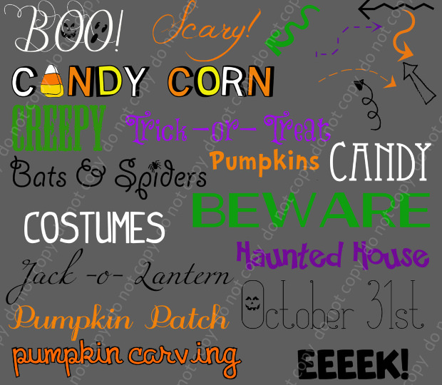25+ Halloween Word Photoshop Brushes Set