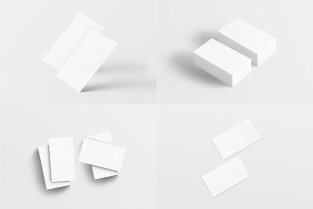 Plane Clean Set of Business Card Mockup