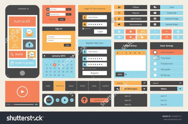 Modern UI Flat Design Buttons