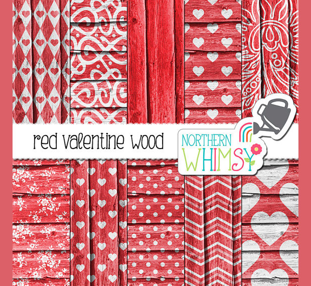 red textures with heart patterns for valentines