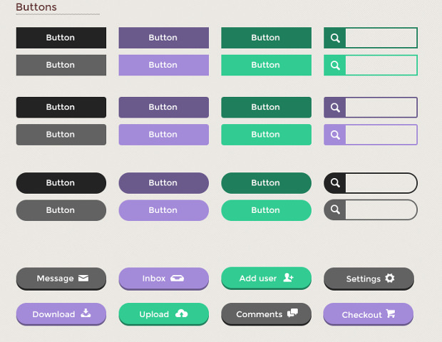 simple flat ui kit buttons