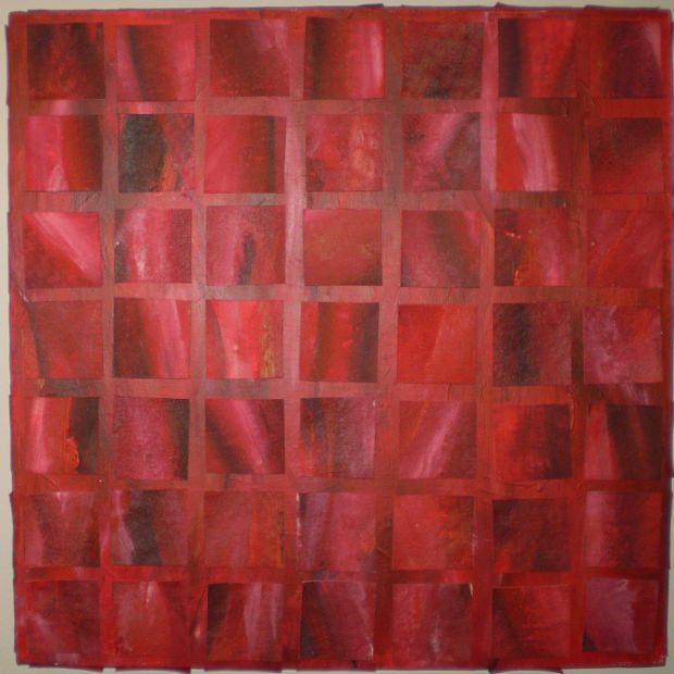 Red Texture With Square Painting