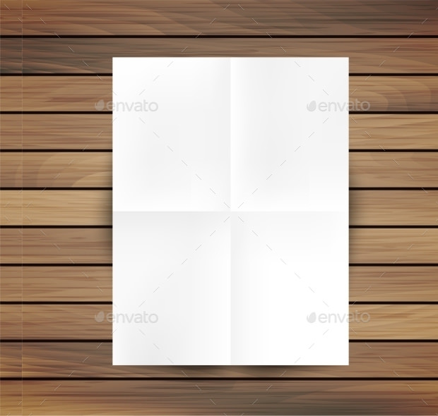 White Plain Floded Paper Mockup