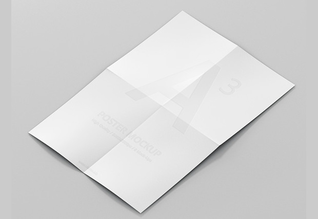folded poster paper mockup