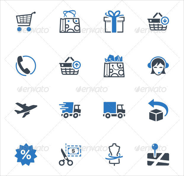 Blue Shopping and Ecommerce Icons