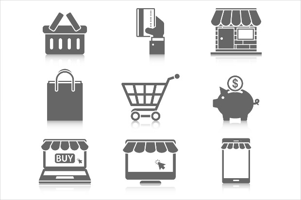 online grey shopping icons