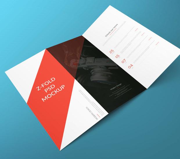 Folded Brochure PSD Mockup