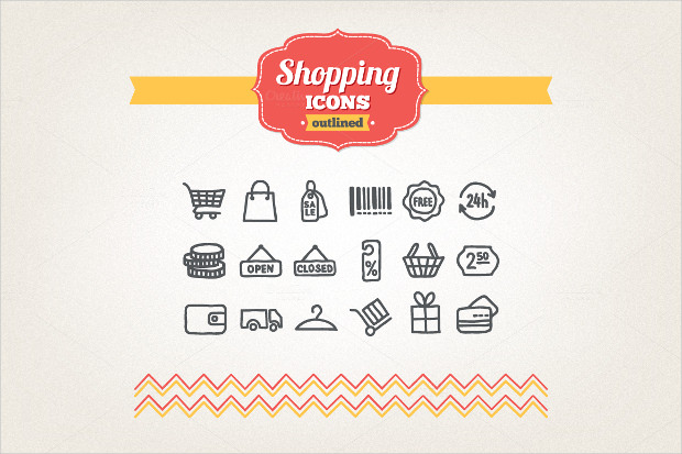 Shopping icons of Hand Drawn